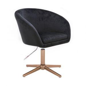 Židle VENICE VELUR na zlatém kříži - černá