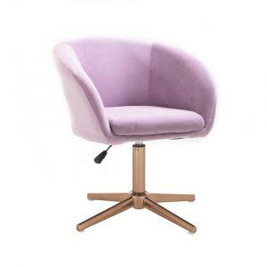 Židle VENICE VELUR na zlatém kříži - fialový vřes