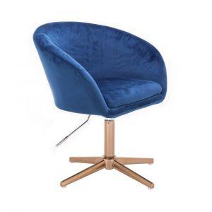 Židle VENICE VELUR na zlatém kříži - modrá