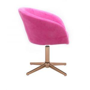 Židle VENICE VELUR na zlatém kříži - růžová