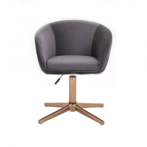 Židle VENICE VELUR na zlatém kříži - tmavě šedá
