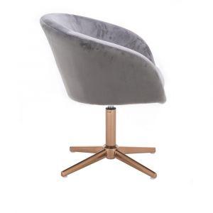 Židle VENICE VELUR na zlatém kříži - světle šedá