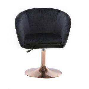 Židle VENICE VELUR na zlatém talíři - černá