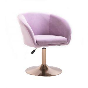 Židle VENICE VELUR na zlatém talíři - fialový vřes