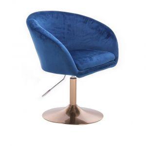 Židle VENICE VELUR na zlatém talíři - modrá