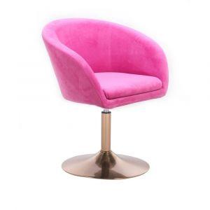 Židle VENICE VELUR na zlatém talíři - růžová