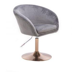 Židle VENICE VELUR na zlatém talíři - světle šedá