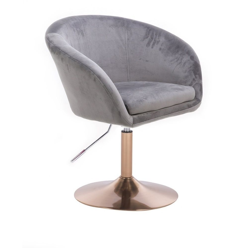 Židle VENICE VELUR na zlatém talíři - šedá