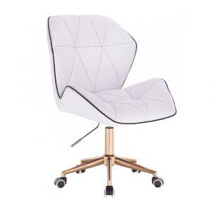 Kosmetická židle MILANO MAX na zlaté podstavě s kolečky - bílá