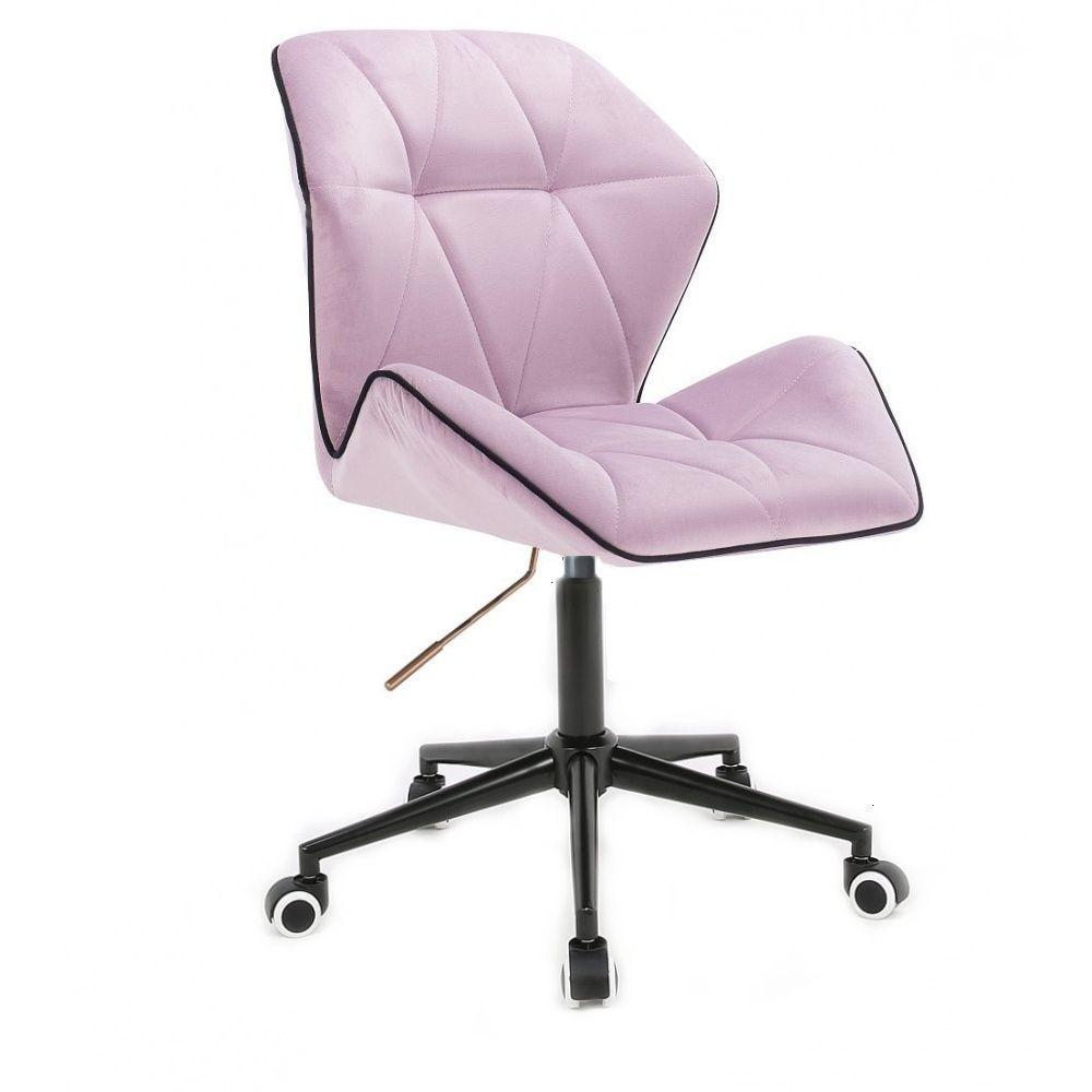 Kosmetická židle MILANO MAX VELUR na černé podstavě s kolečky - fialový vřes