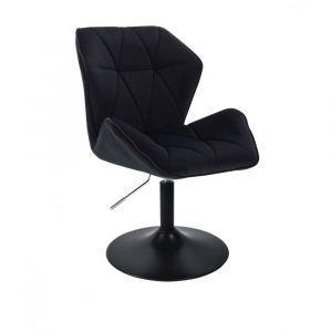 Kosmetická židle MILANO MAX VELUR na černém talíři - černá