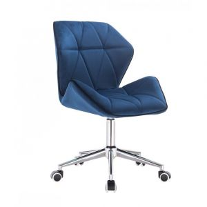 Kosmetická židle MILANO MAX VELUR na stříbrné podstavě s kolečky - modrá