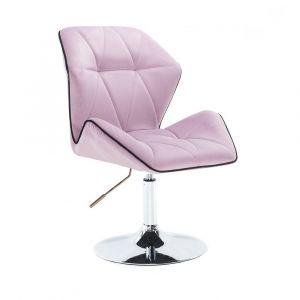Kosmetická židle MILANO MAX VELUR na stříbrném talíři - fialový vřes