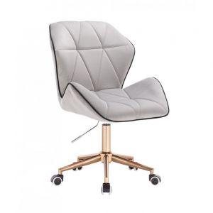 Kosmetická židle MILANO MAX VELUR na zlaté základně s kolečky - šedá
