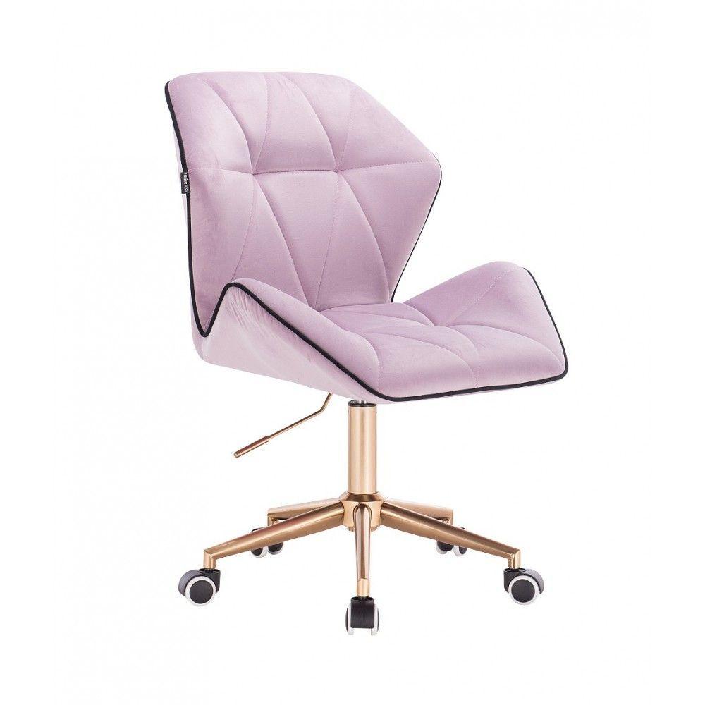 Kosmetická židle MILANO MAX VELUR na zlaté základně s kolečky - fialový vřes