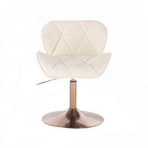 Kosmetická židle MILANO na zlatém talíři - krémová