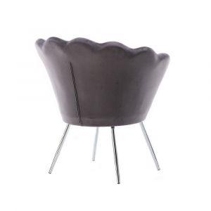 Kosmetické křeslo FREY VELUR se stříbrnými nohami - šedé