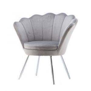 Kosmetické křeslo FREY VELUR se stříbrnými nohami - světle šedé