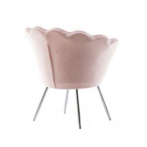 Kosmetické křeslo FREY VELUR se stříbrnými nohami - růžové