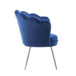 Křeslo FREY VELUR se stříbrnými nohami - modré