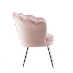 Křeslo FREY VELUR se stříbrnými nohami - růžové