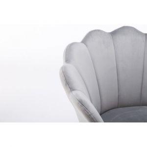 Křeslo FREY VELUR se stříbrnými nohami - světle šedé