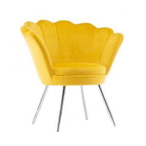 Křeslo FREY VELUR se stříbrnými nohami - žluté