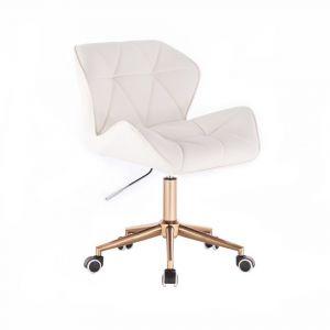 Židle MILANO na zlaté podstavě s kolečky - bílá