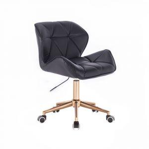 Židle MILANO na zlaté podstavě s kolečky - černá