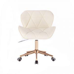 Židle MILANO na zlaté podstavě s kolečky - krémová
