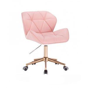 Židle MILANO na zlaté podstavě s kolečky - růžová