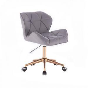 Židle MILANO na zlaté podstavě s kolečky - šedá