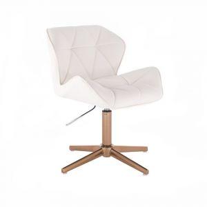 Židle MILANO na zlatém kříží - bílá
