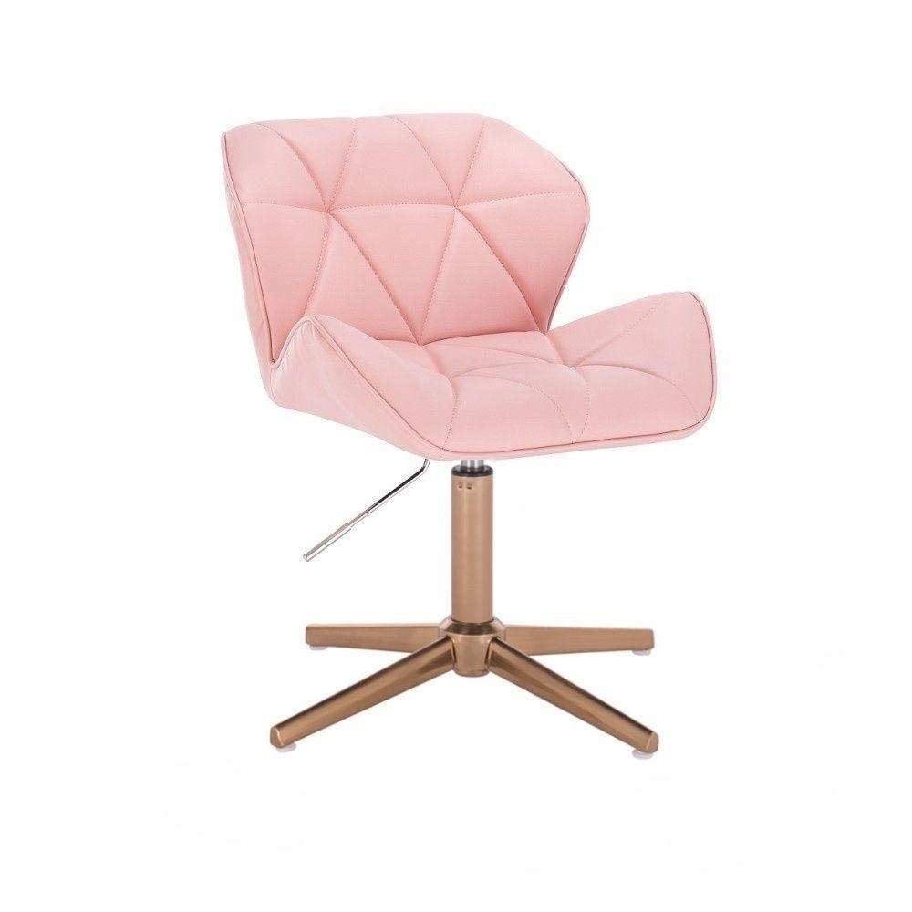 Židle MILANO na zlatém kříží - růžová