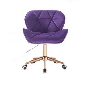 Židle MILANO VELUR na zlaté podstavě s kolečky - fialová