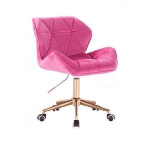 Židle MILANO VELUR na zlaté podstavě s kolečky - růžová