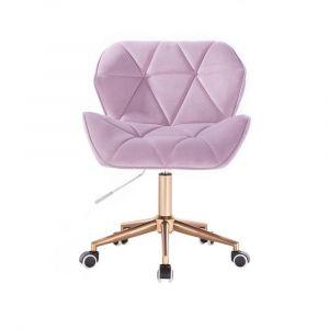 Kosmetická židle MILANO VELUR na zlaté podstavě s kolečky - fialový vřes