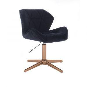 Kosmetická židle MILANO VELUR na zlatém kříži - černá