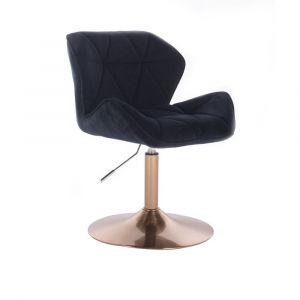 Kosmetická židle MILANO VELUR na zlatém talíři - černá