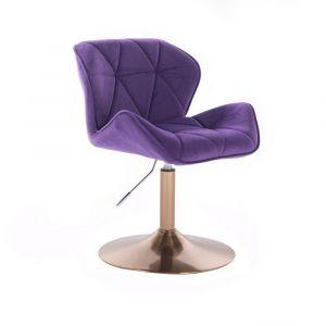 Kosmetická židle MILANO VELUR na zlatém talíři - fialová