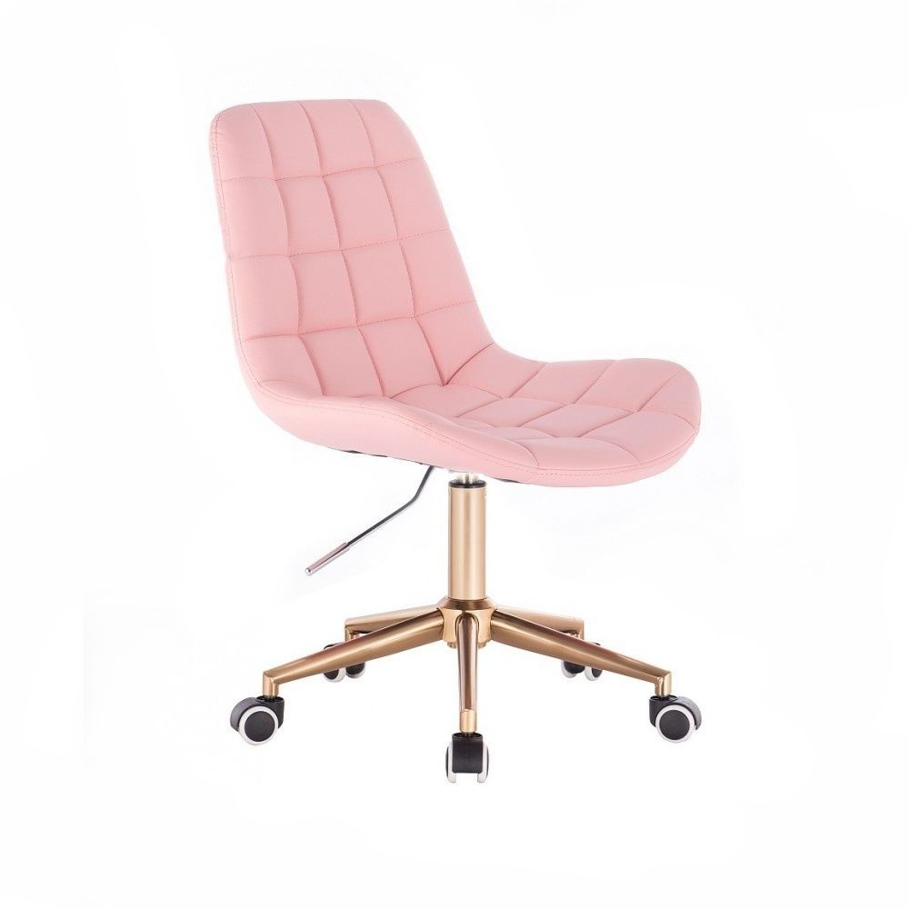 Kosmetická židle PARIS na zlaté podstavě s kolečky - růžová