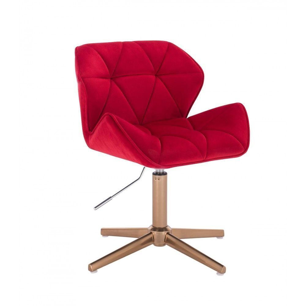 Židle MILANO VELUR na zlatém kříži - červená