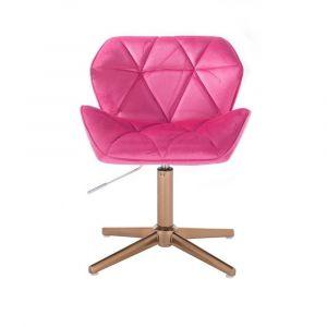 Židle MILANO VELUR na zlatém kříži - růžová