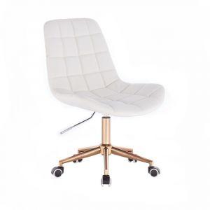 Židle PARIS na zlaté podstavě s kolečky - bílá