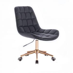 Židle PARIS na zlaté podstavě s kolečky - černá