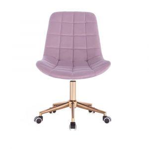 Židle PARIS na zlaté podstavě s kolečky - fialový vřes