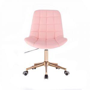 Židle PARIS na zlaté podstavě s kolečky - růžová