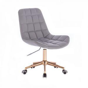Židle PARIS na zlaté podstavě s kolečky - šedá