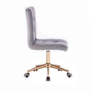Kosmetická židle TOLEDO na zlaté podstavě s kolečky - šedá