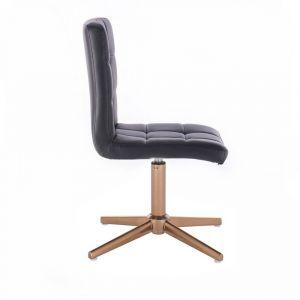 Kosmetická židle TOLEDO na zlatém kříži - černá